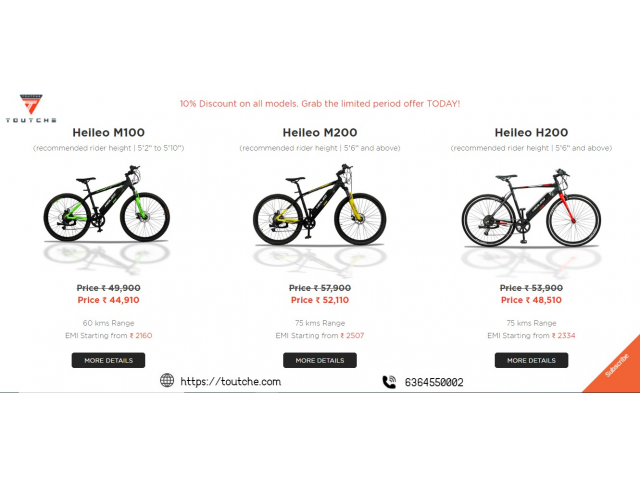 Best Electric Bicycles - 75 Kms range, EMI Options‎ |Touche - 1/1